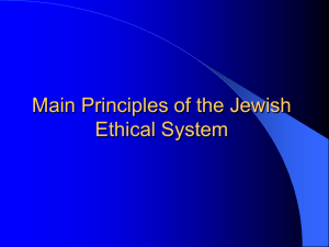 Main Principles of the Jewish Ethical System