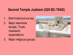Second Temple Judaism - University of St. Thomas