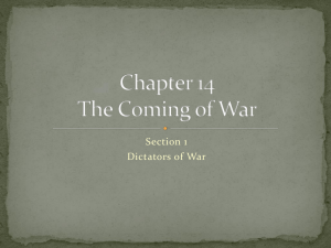 Chapter 14 The Coming of War - Mr Russell FCHS