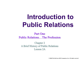 Course: Public Relations: The Profession and Practice