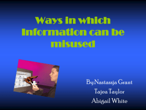 Ways in which Information can be misused