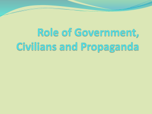 Role of Civilians, Government and Propaganda - learning