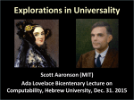 Explorations in Universality