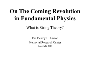 On the Coming Revolution in Fundamental Physics