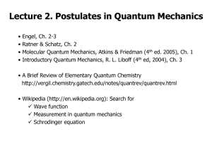 Postulate 1 of Quantum Mechanics (wave function)
