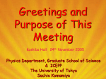 Greetings and Purpose of This Meeting