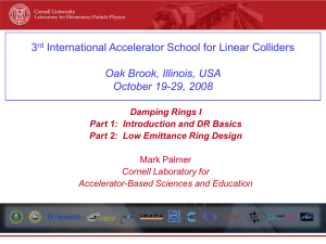 Damping Ring Lecture I - International Linear Collider