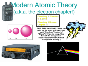 Modern Atomic Theory (aka the electron chapter!)
