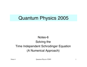 Quantum Physics 2005 Notes-6 Solving the Time Independent Schrodinger Equation