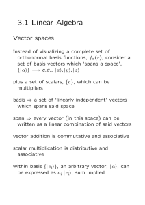3.1 Linear Algebra Vector spaces
