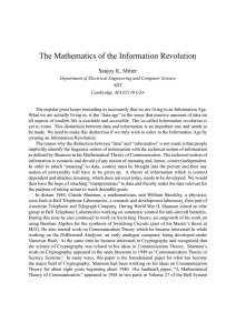 The Mathematics of the Information Revolution Sanjoy K. Mitter