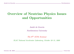 Overview of Neutrino Physics Issues and Opportunities Andr´ e de Gouvˆ