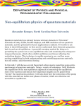 Non-equilibrium physics of quantum materials Department of Physics and Physical Oceanography Colloquium