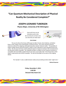 """Can Quantum-Mechanical Description of Physical Reality Be Considered Complete?"" JOSEPH LEONARD TUBERGEN"