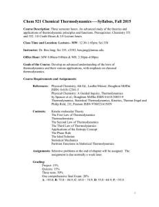 Chem 521 Chemical Thermodynamics–—Syllabus, Fall 2015