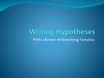 Identifying Variables and Writing Hypotheses