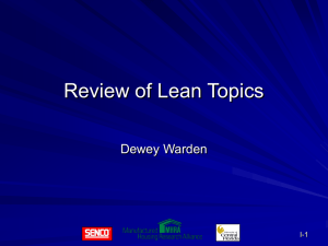 I. Review of Lean Topics