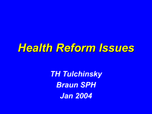 Health reform Issues