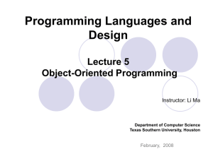 Object-Oriented Programming - Department Of Computer Science