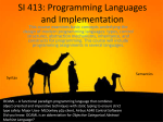 SI 413: Programming Languages and Implementation