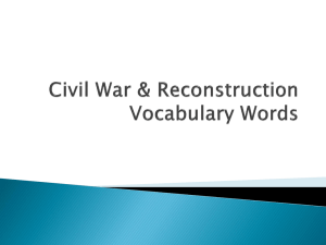 Civil War Vocabulary Words
