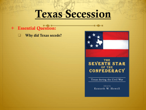 Causes of the Civil War and Secession Notes