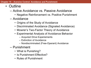 Chapter 10: Aversive Control: Avoidance and Punishment