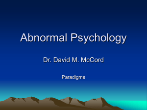 Abnormal Psychology - PAWS - Western Carolina University