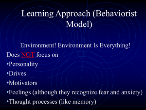 Learning Approach (Behaviorist Model)