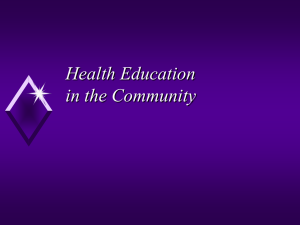 Health Education in the Community