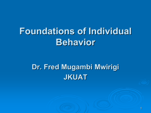 Lecture 2 Foundations of Individual Behavior
