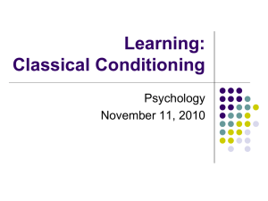 Learning - Classical Conditioning