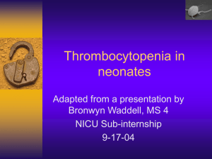 Thrombocytopenia in neonates
