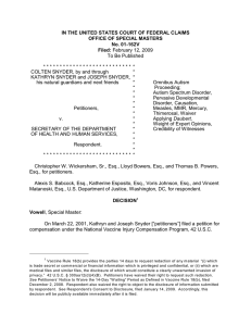 IN THE UNITED STATES COURT OF FEDERAL CLAIMS No. 01-162V Filed: