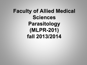 Faculty of Allied Medical Sciences Parasitology