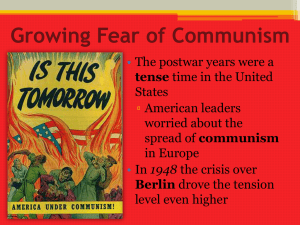 Growing Fear of Communism