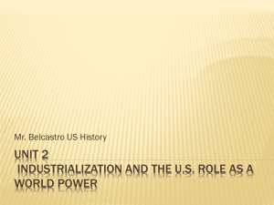Unit 2 Industrialization and the U.S. Role as a World Power