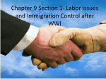 Ch.9 Sec. 1 Red Scare, Immigration, & Labor Issues