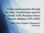 Crisis communication through the years: A preliminary