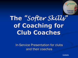 Coaching Presentation - Doncaster Hockey Club, Melbourne