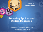Preparing Spoken and Written Messages Business Communication
