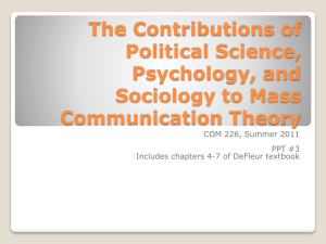 PPT #3: The Contributions of Political Science, Psychology, and