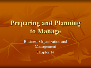 Preparing and Planning to Manage