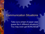 Communication Situations