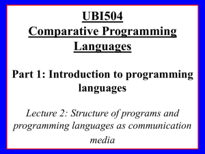 2. Comparative Programming Languages I