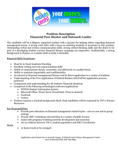 Position Description Financial Peer Mentor and Outreach Leader