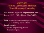 CS-595: Machine Learning in Natural Language Processing