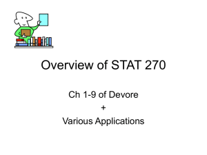 Overview of STAT 270