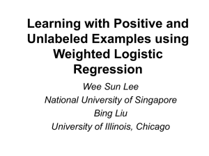 Learning with Positive and Unlabeled Examples using Weighted