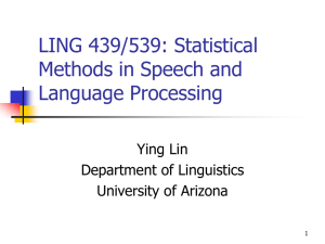LING 696B: Computational Models of Phonological Learning